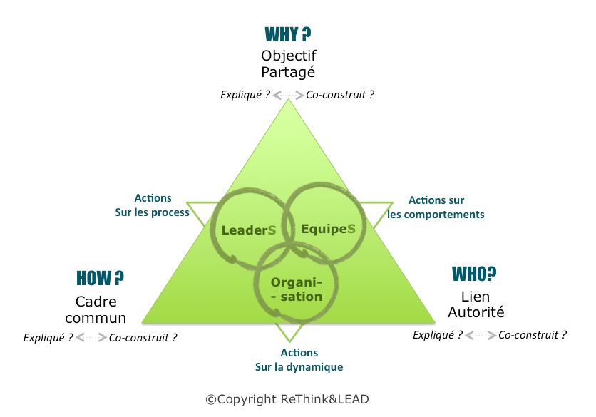 schéma méthodologie ReThink & LEAD pour l'accompagnement de la transformation virale® : leaders, équipe, organisation, Why, how, Who ?