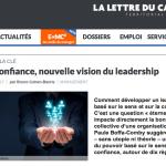 La confiance, une nouvelle vision du leadership, article de Laurent Cohen-Bacrie, la lettre du cadre sur Le Leader Collectif par paule Boffa-Comby aux Editions Dunod