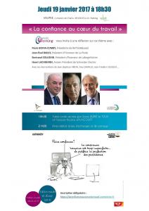 Paule Boffa-Comby aux cotés de Jean-Paul Bailly, bertrand collomb, henri Lachmann, aux entretiens de Valpré sur le thème : la confiance au travail