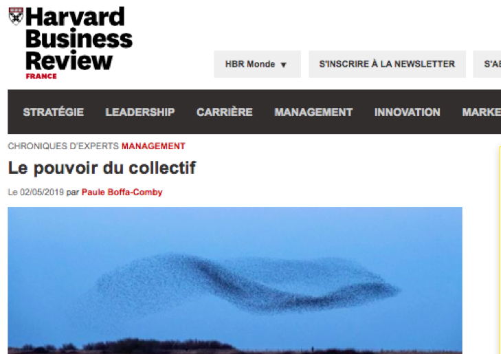 LE pouvoir du collectif, chronique de Paule Boffa-Comby dans Harvard Business Review France